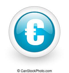 euro blue circle glossy web icon on white background