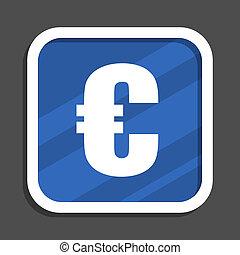 Euro blue flat design square web icon