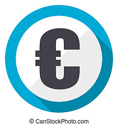 Euro blue flat design web icon