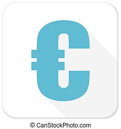 euro blue flat icon