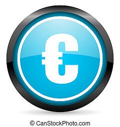 euro blue glossy circle icon on white background