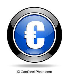 euro blue glossy icon