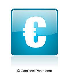 euro blue square web glossy icon