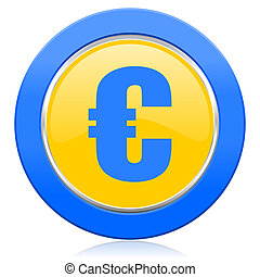 euro blue yellow icon
