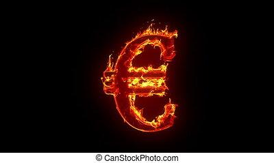 euro, brûlé, signe