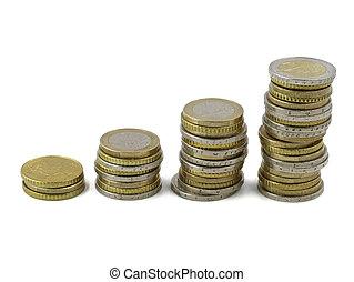 euro, branca, fila, moedas, cima, empilhado, fundo, isolado