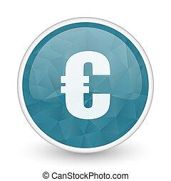 Euro brillant crystal design round blue web icon.