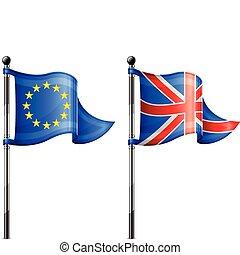 Euro & Britain flags