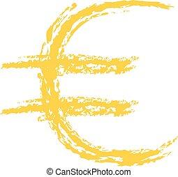 euro, brossé, signe