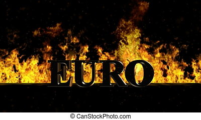 Euro Burning Hot Word in Fire