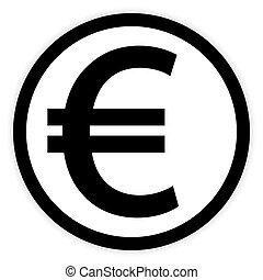 Euro button on white.