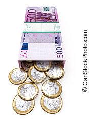 euro, caja dinero, blanco, aislado, ba