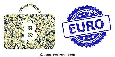 euro, camuflagem, selo, militar, bitcoin, selo, borracha, colagem, caso