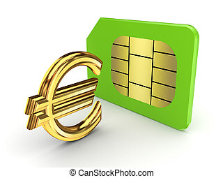 euro, card., sim, zeichen