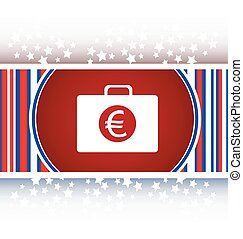 euro case button, financial icon isolated on white background vector