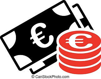 Euro cash icon. Vector style is flat bicolor, intensive red ...