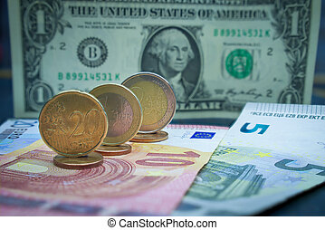 Euro cash in close-up with coins