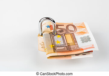 Euro cash locked with lock on white background