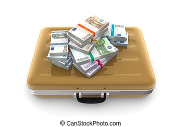 Euro Cash Packets on a Golden Briefcase