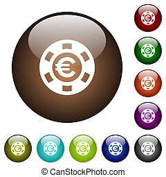 Euro casino chip color glass buttons