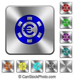 Euro casino chip rounded square steel buttons