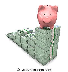 Euro Chart Piggy Bank - Pink piggy bank with euro chart on...