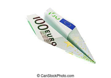 Euro cheaper - plane with euro banknotes falls