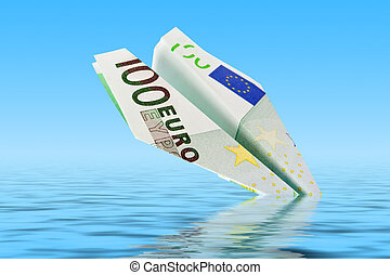 Euro cheaper - plane with euro banknotes falls into the ...