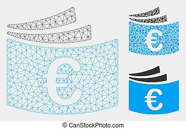 Euro Checkbook Vector Mesh 2D Model and Triangle Mosaic Icon...