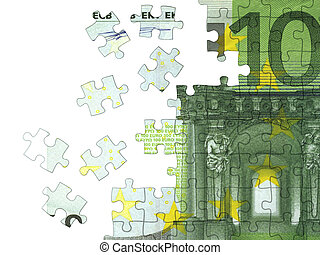 Euro - Collected puzzle with the image of euro