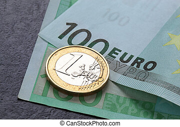 Euro coin and banknote