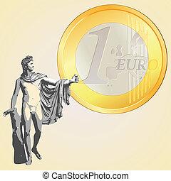 Euro coin and Greek god Apollo