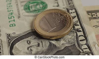 Euro coin and us dollar banknote background. Finance...