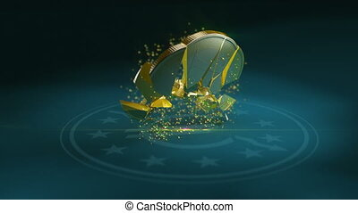 Euro coin crash - Two animations of falling down and...