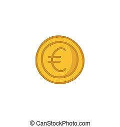 euro coin doodle icon, vector illustration