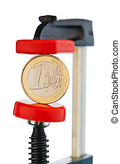Euro coin in a vice