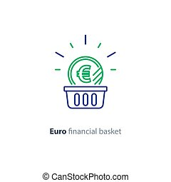 Euro coin in basket, financial concept, investment plan, revenue increase, line icon