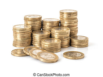 Euro coin stacks isolated on a white background