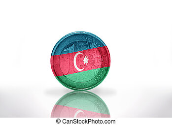 euro coin with azerbaijani flag on the white background