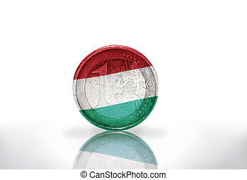 euro coin with hungarian flag on the white background