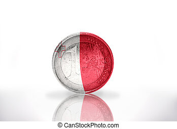 euro coin with maltese flag on the white background