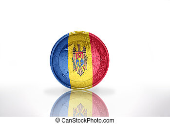 euro coin with moldavian flag on the white background