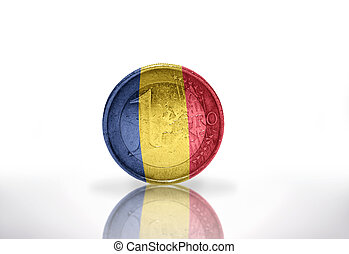 euro coin with romanian flag on the white background