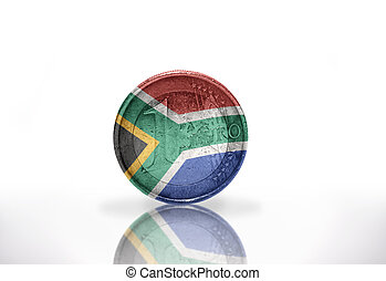 euro coin with south africa flag on the white background