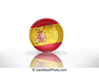 euro coin with spanish flag on the white background
