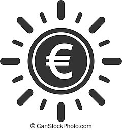 Euro coin with sun ray icon in simple design. Vector illustration