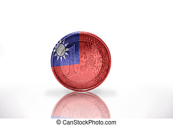euro coin with taiwan flag on the white background
