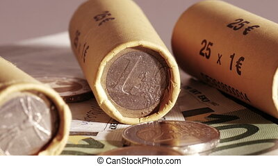 Euro coin wrappers. Rotation shot. - Business and Finance. I...