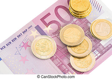 Euro coins and five hundred euro banknote.