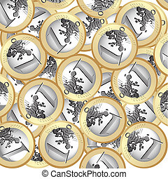 Euro coins background - Seamless background with euro coins